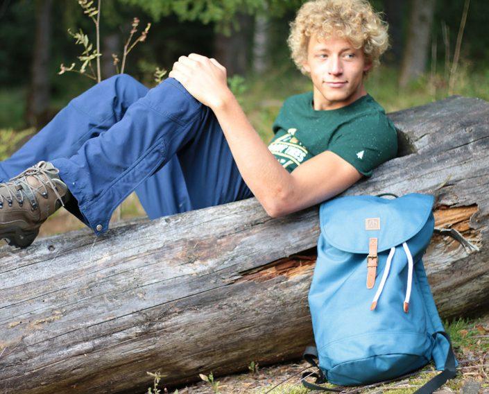 Packsack Blue - Rohholz Rucksack