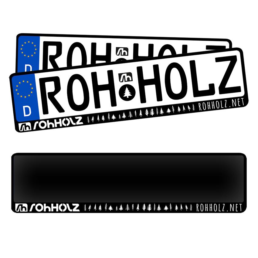 Kennzeichenhalter - Rohholz KFZ Nummernschildhalter