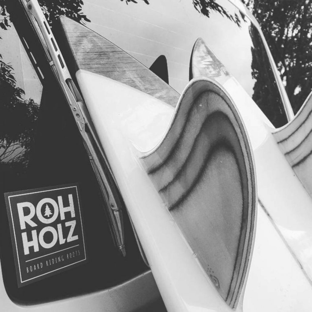 retro woodfins sticker - Rohholz surfing