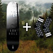 Rohholz Skateboard mit Socken gewinnen