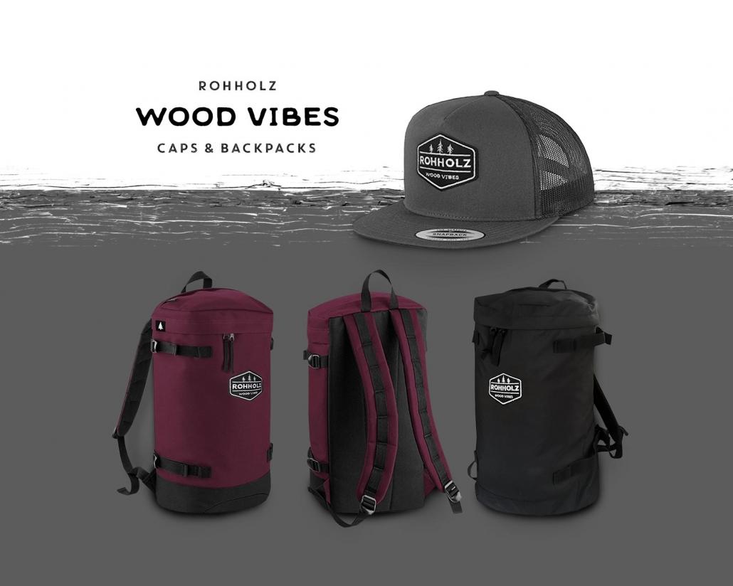 Rohholz Wood Vibes Caps und Rucksäcke