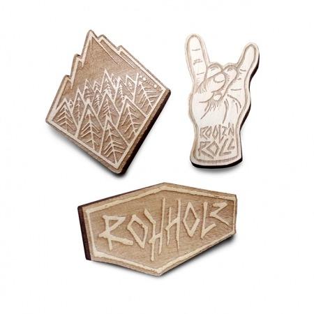 Rohholz Rock wood pins - Holz Anstecker