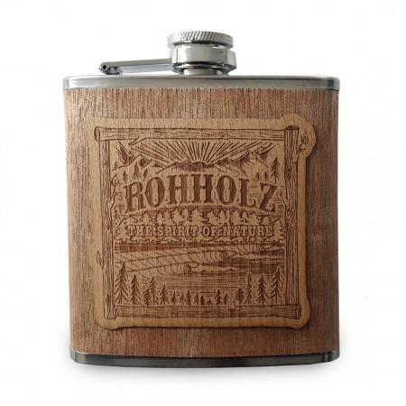 Wood Hip Flask - Rohholz Flachmann