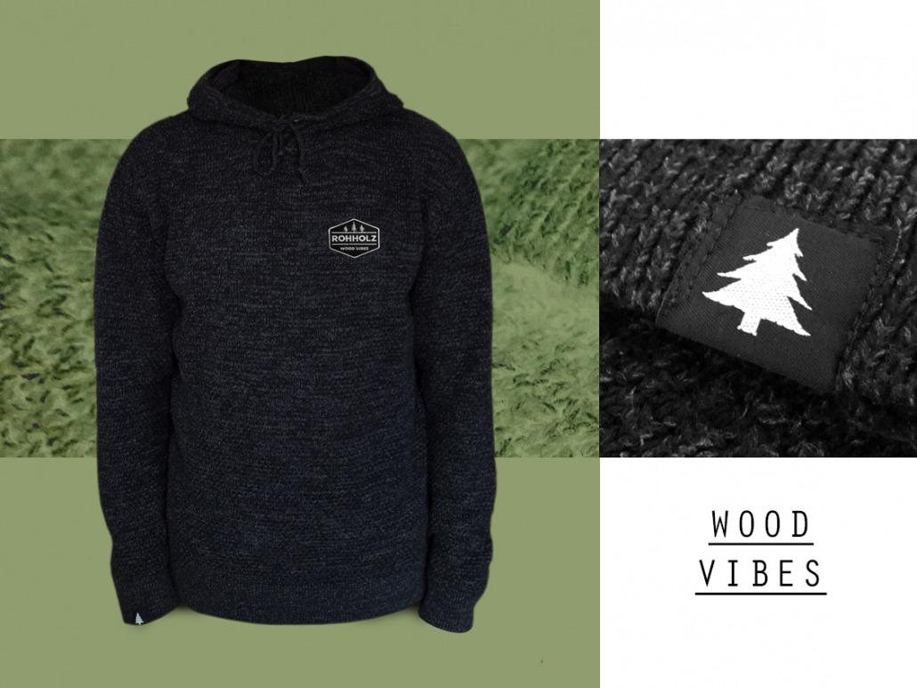 Rohholz Strick Hoodie - Wood Vibes Kapuzenpullover