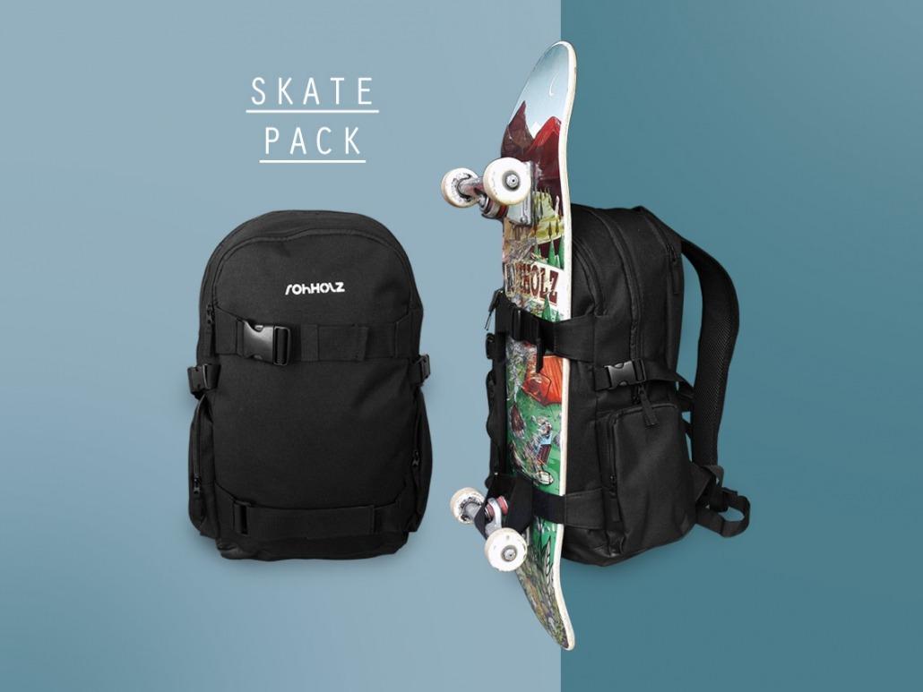 Skatepack Rucksack mit Boardcatcher